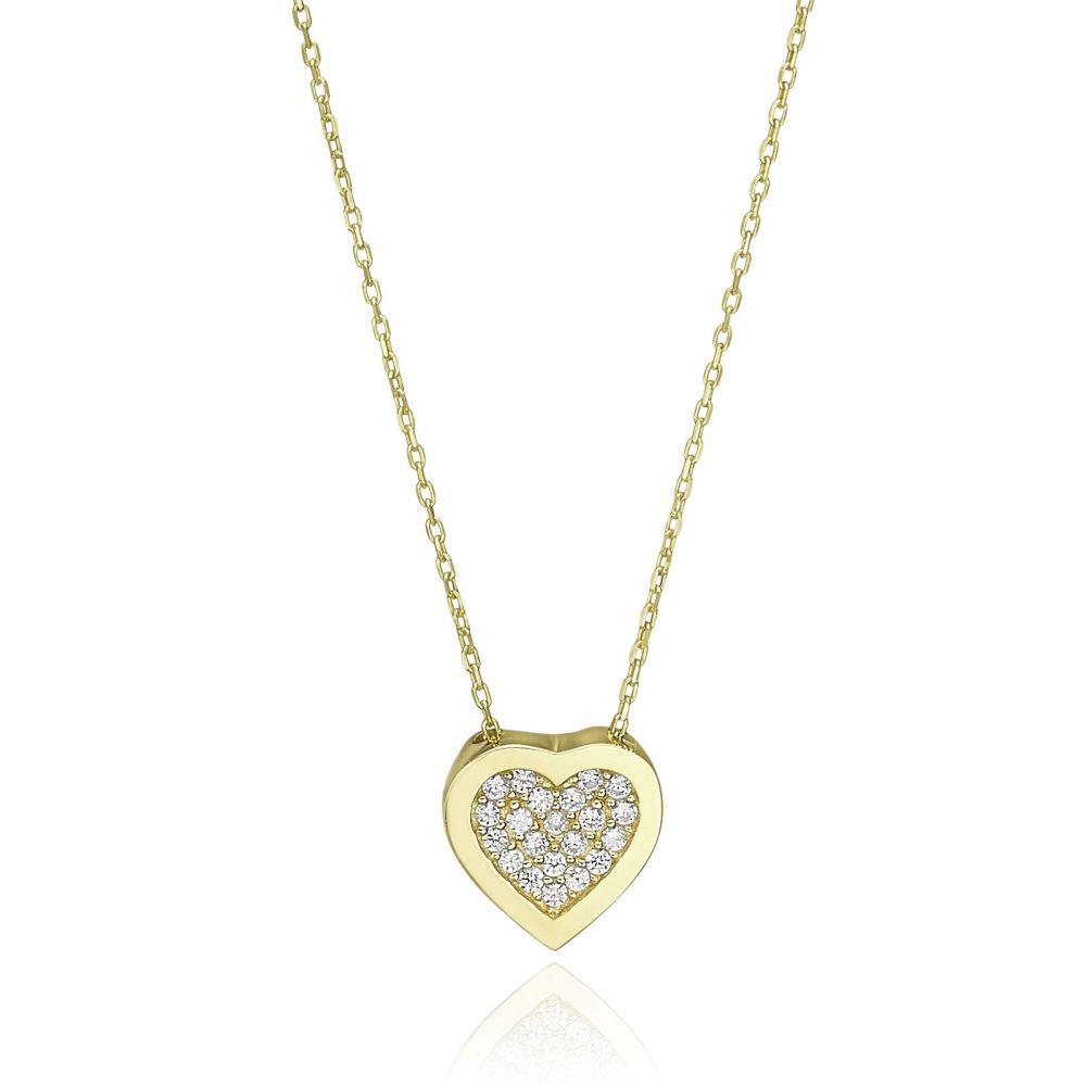 תכשיטי זהב לנשים | שרשרת ותליון מזהב צהוב 14 קראט - לב הרמוני מנצנץ