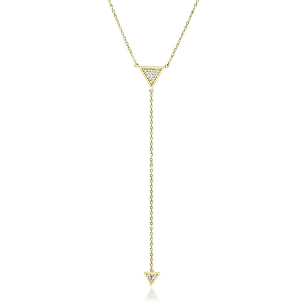תכשיטי זהב לנשים | שרשרת ותליון מזהב צהוב 14 קראט - פירמידות תלויות