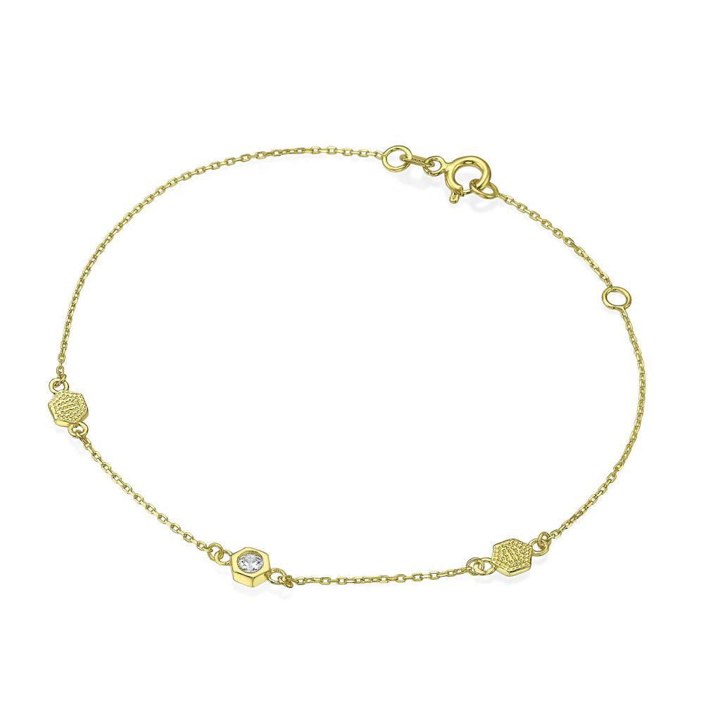 תכשיטי זהב לנשים | צמיד לאישה מזהב צהוב 14 קראט - קמילה