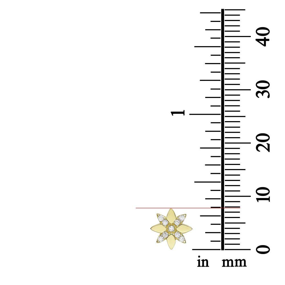 תכשיטי זהב לנשים | עגילים צמודים מזהב צהוב 14 קראט -  פרח מלכותי