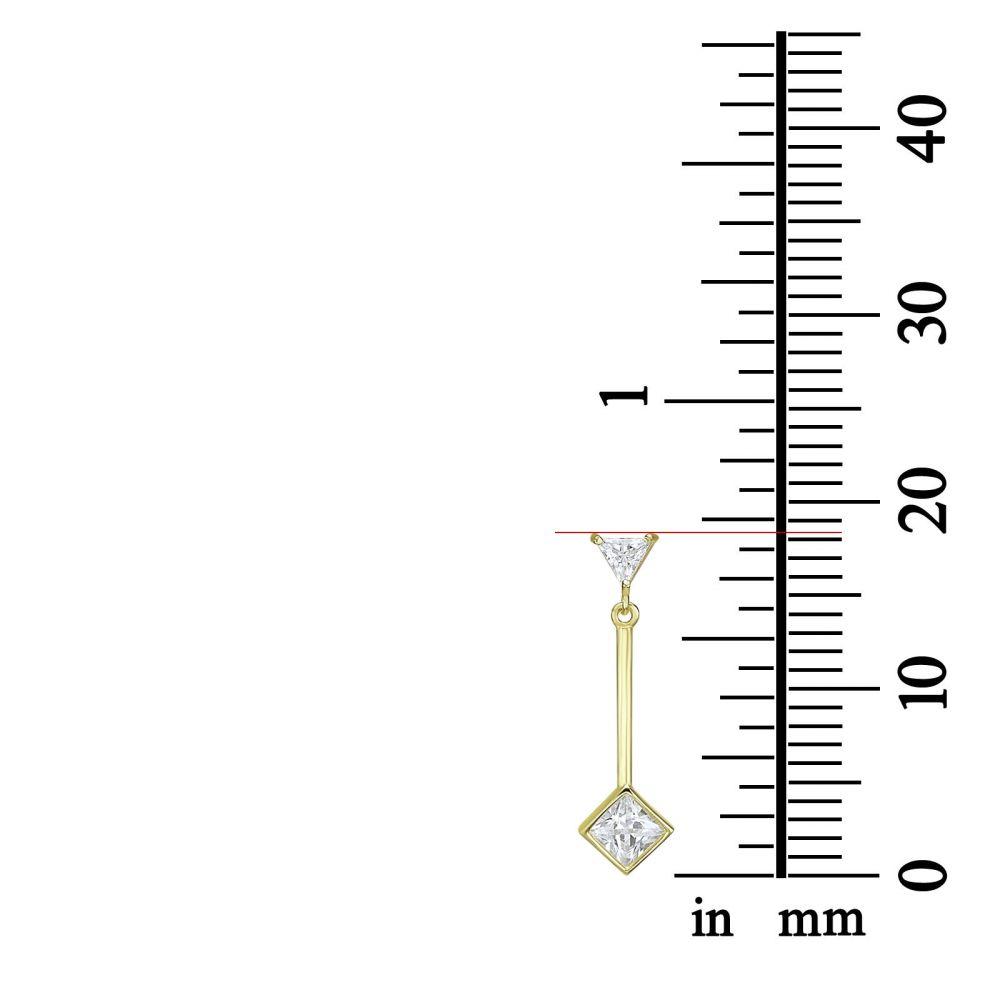 תכשיטי זהב לנשים | עגילים תלויים מזהב צהוב 14 קראט - טיפות השמש