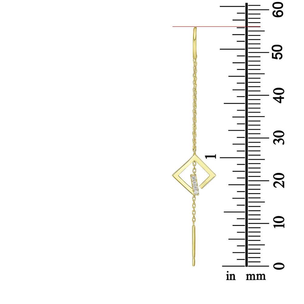 תכשיטי זהב לנשים | עגילים תלויים מזהב צהוב 14 קראט - גרייס