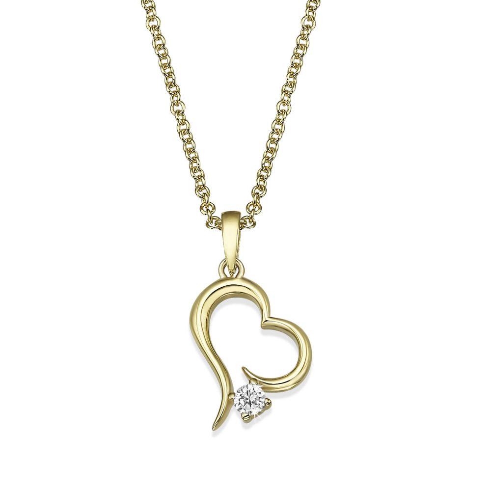 תכשיטי זהב לנשים | שרשרת יהלום מזהב צהוב  14 קראט - לב אטלנטיס