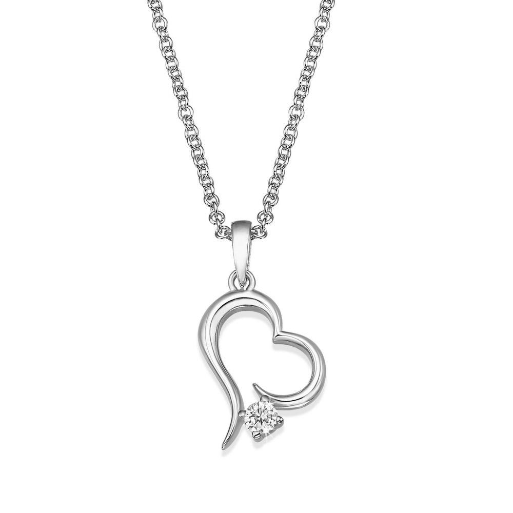 תכשיטי זהב לנשים | שרשרת יהלום מזהב לבן  14 קראט - לב אטלנטיס