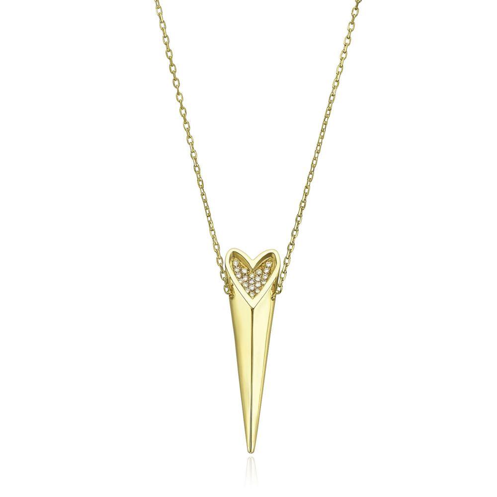 תכשיטי זהב לנשים | שרשרת יהלום מזהב צהוב  14 קראט - לב פראי מנצנץ