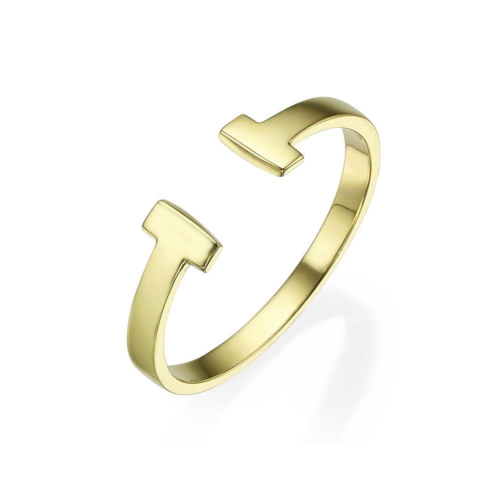 תכשיטי זהב לנשים | טבעת פתוחה מזהב צהוב 14 קראט -  רובין