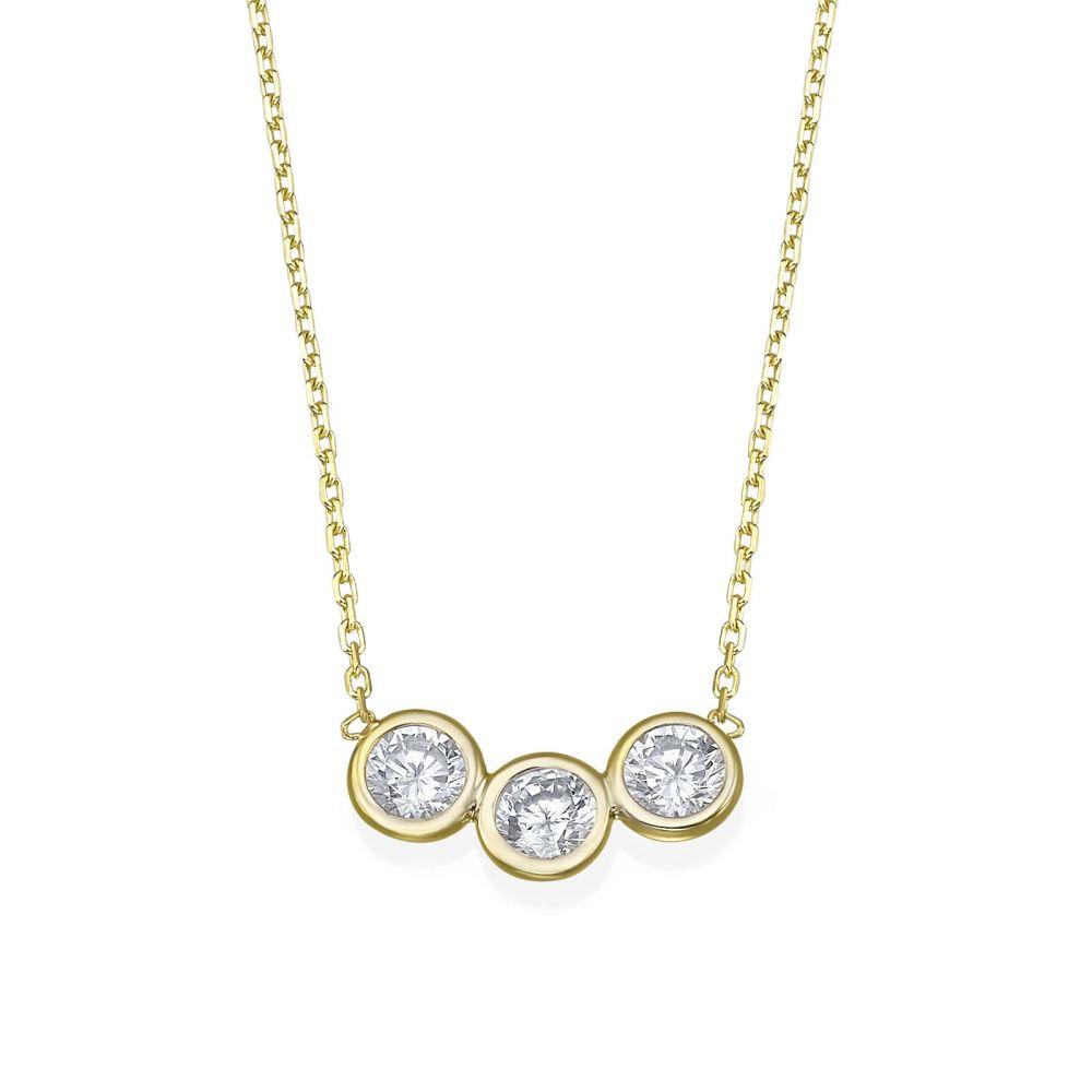 תכשיטי זהב לנשים | שרשרת ותליון מזהב צהוב 14 קראט - עיגולי ארבל