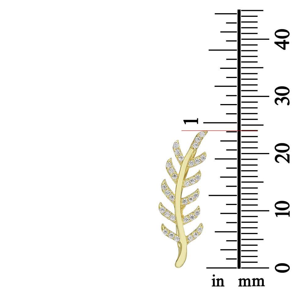 עגילי זהב | עגילים מטפסים מזהב צהוב  14 קראט - איב