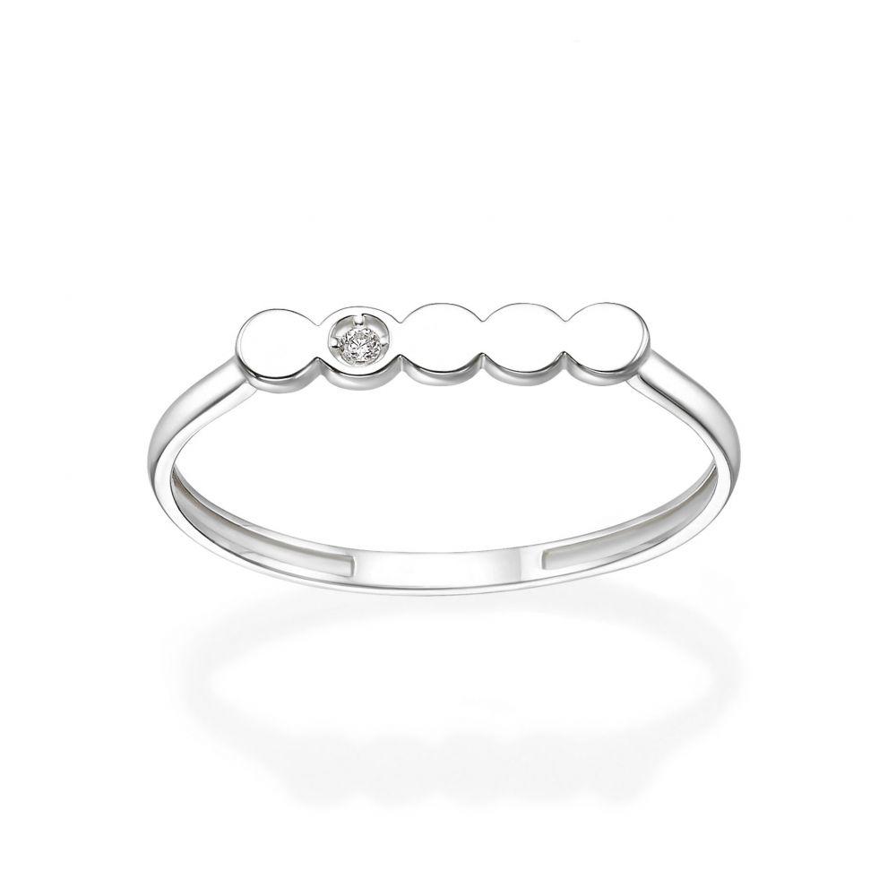תכשיטי זהב לנשים | טבעת מזהב לבן 14 קראט -  ניקול