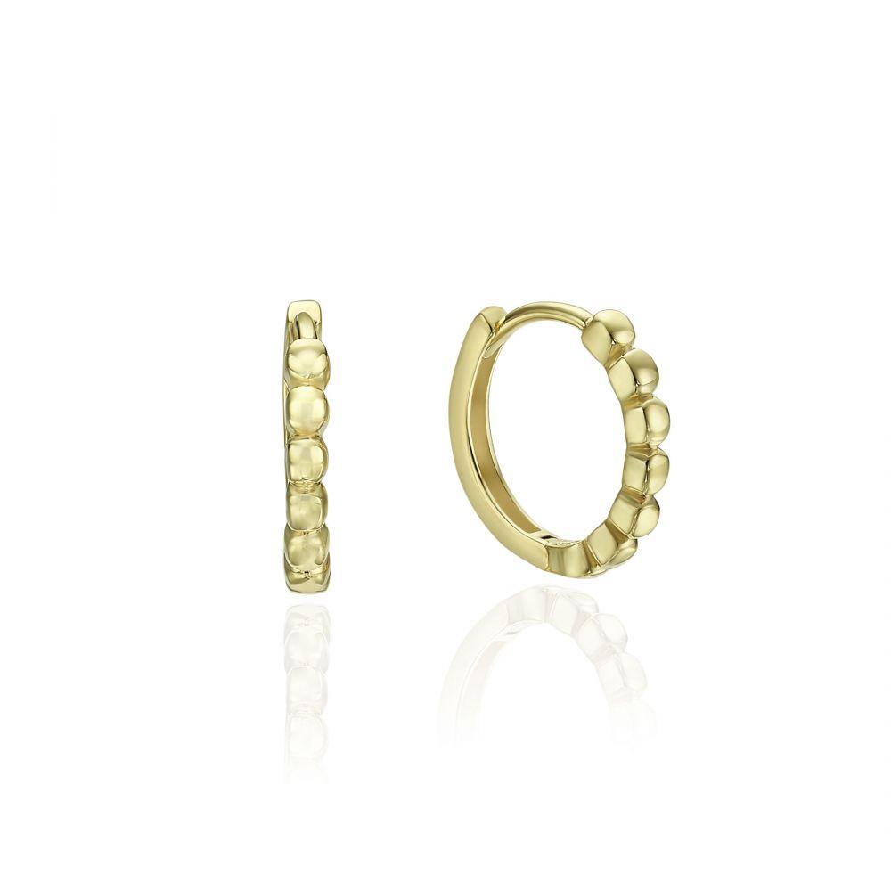 עגילי זהב   עגילים לנשים מזהב צהוב 14 קראט - כדורים