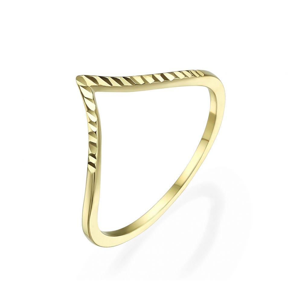 תכשיטי זהב לנשים | טבעת מזהב צהוב 14 קראט -  וי מבריק