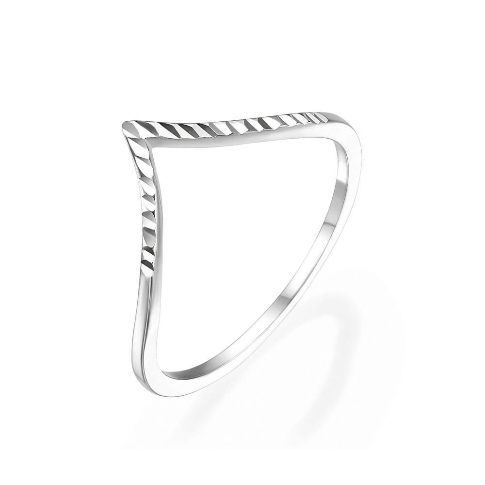 תכשיטי זהב לנשים | טבעת מזהב לבן 14 קראט -  וי מבריק