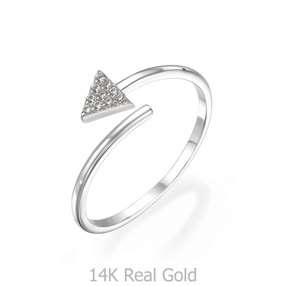 תכשיטי זהב לנשים | טבעת פתוחה מזהב לבן 14 קראט -   חץ מנצנץ