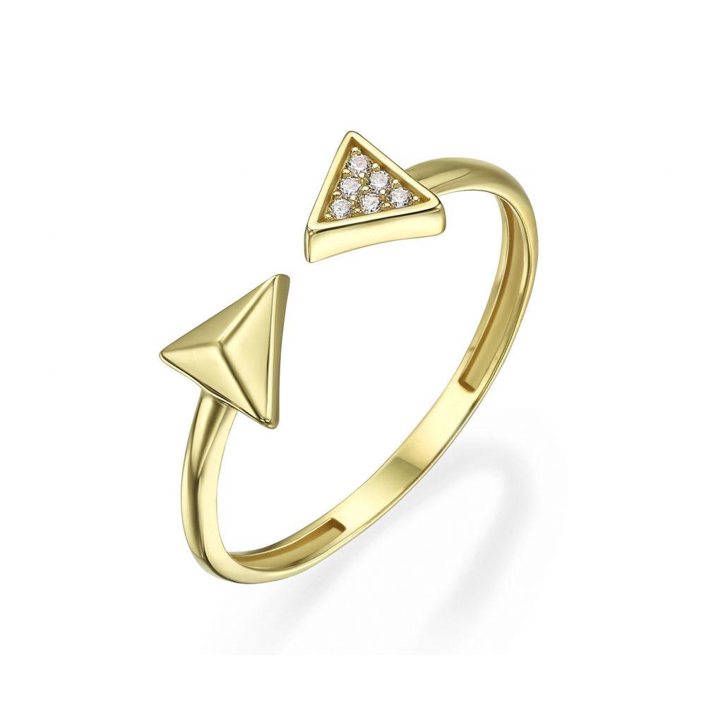 תכשיטי זהב לנשים | טבעת פתוחה מזהב צהוב 14 קראט - חצים