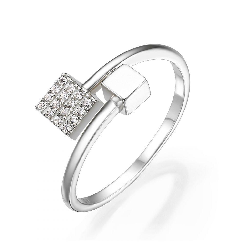 תכשיטי זהב לנשים   טבעת פתוחה מזהב לבן 14 קראט - קוביות מנצנצות