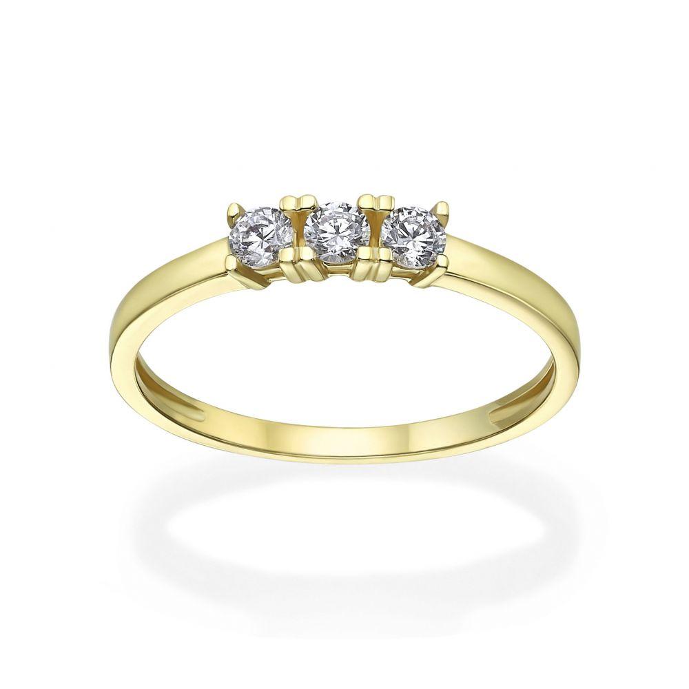 תכשיטי זהב לנשים | טבעת מזהב צהוב 14 קראט - לורן
