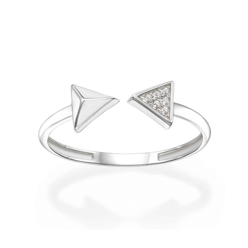 תכשיטי זהב לנשים | טבעת פתוחה מזהב לבן 14 קראט - חצים