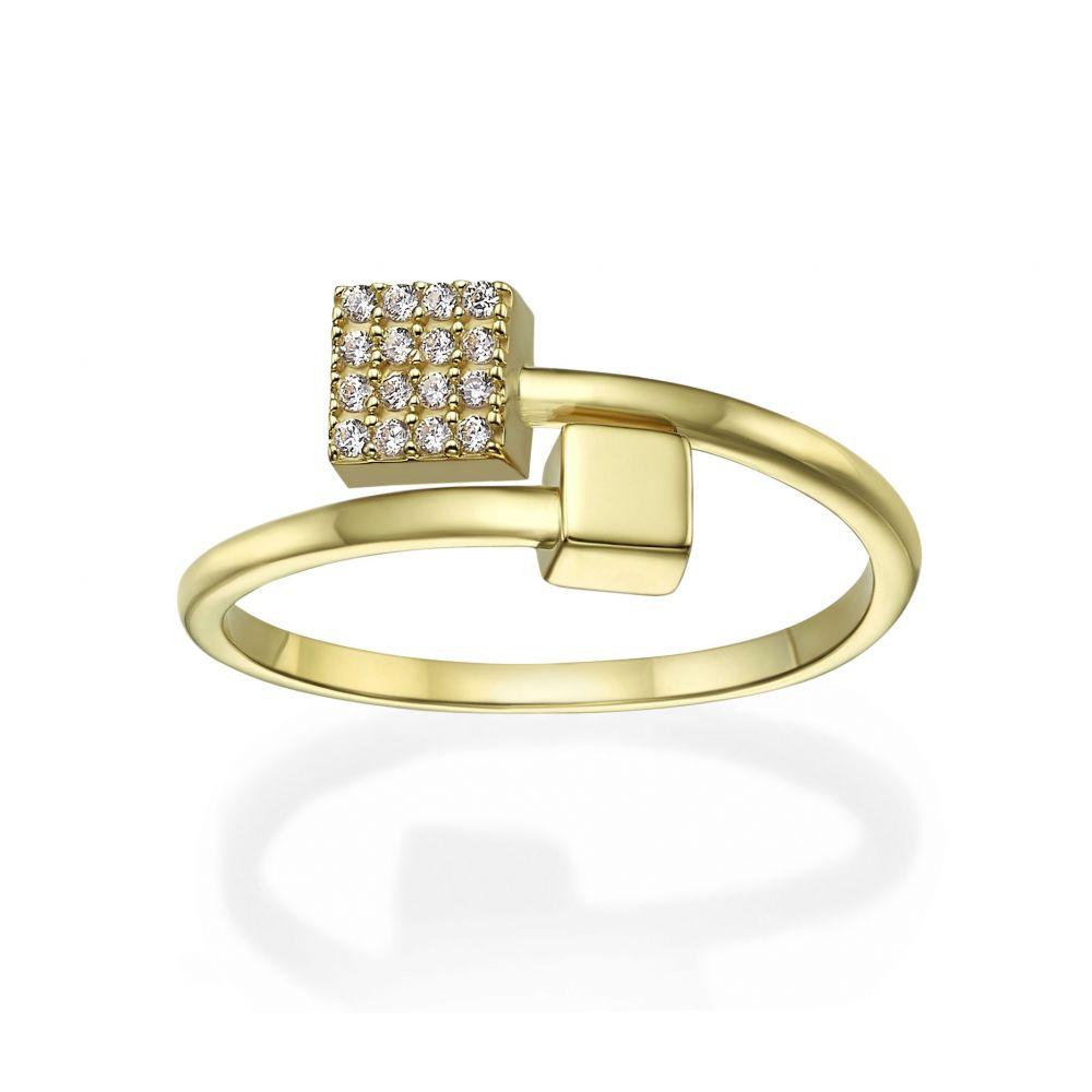 תכשיטי זהב לנשים | טבעת פתוחה מזהב צהוב 14 קראט - קוביות מנצנצות