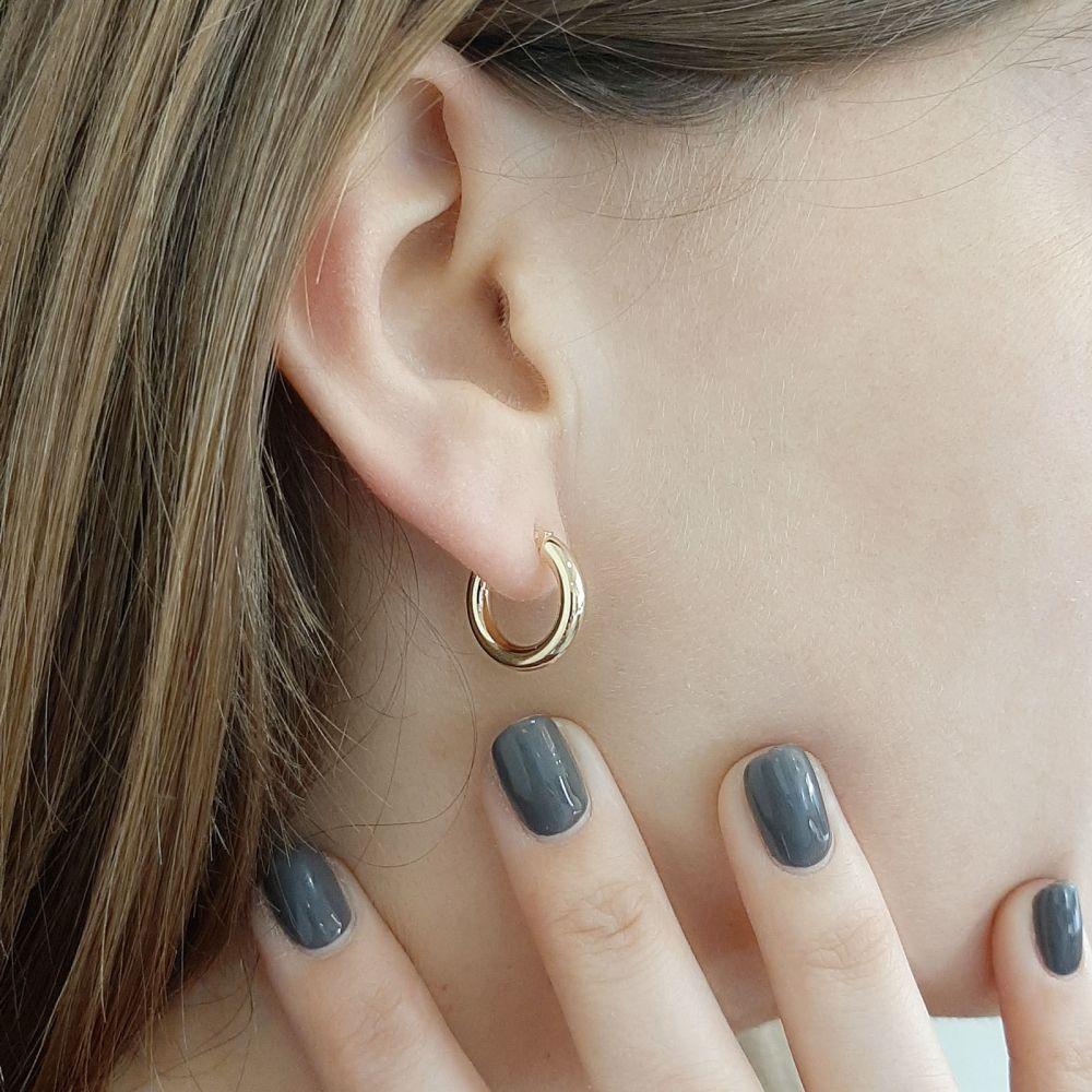 תכשיטי זהב לנשים | עגילי חישוק מזהב צהוב 14 קראט - S