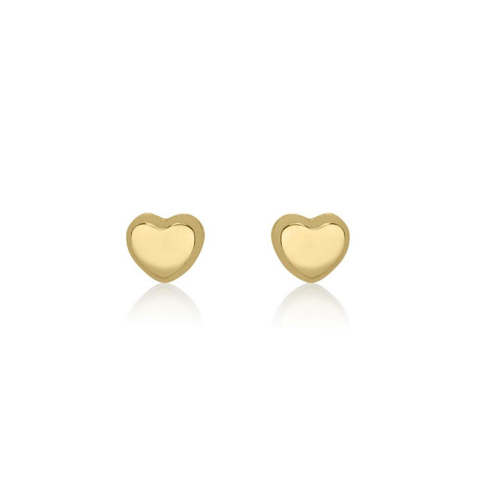 תכשיטים מזהב לילדות | עגילים צמודים מזהב צהוב 14 קראט - לב קלאסי - קטן