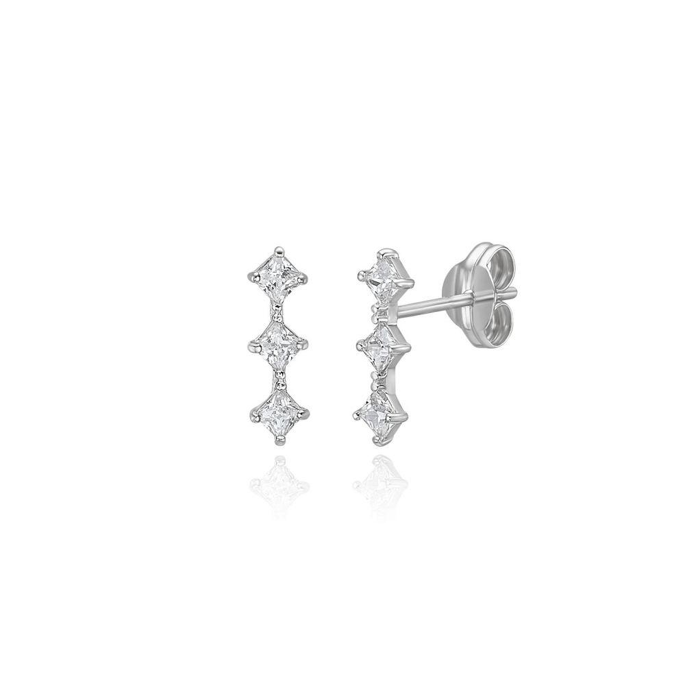 תכשיטי זהב לנשים | עגילים צמודים מזהב לבן 14 קראט - מעוינים מנצנצים