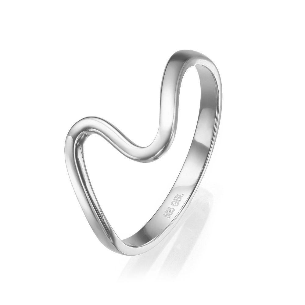 טבעות זהב | טבעת מזהב לבן 14 קראט - גל