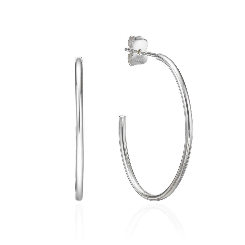 עגילי זהב | עגילים מזהב לבן 14 קראט - ריו