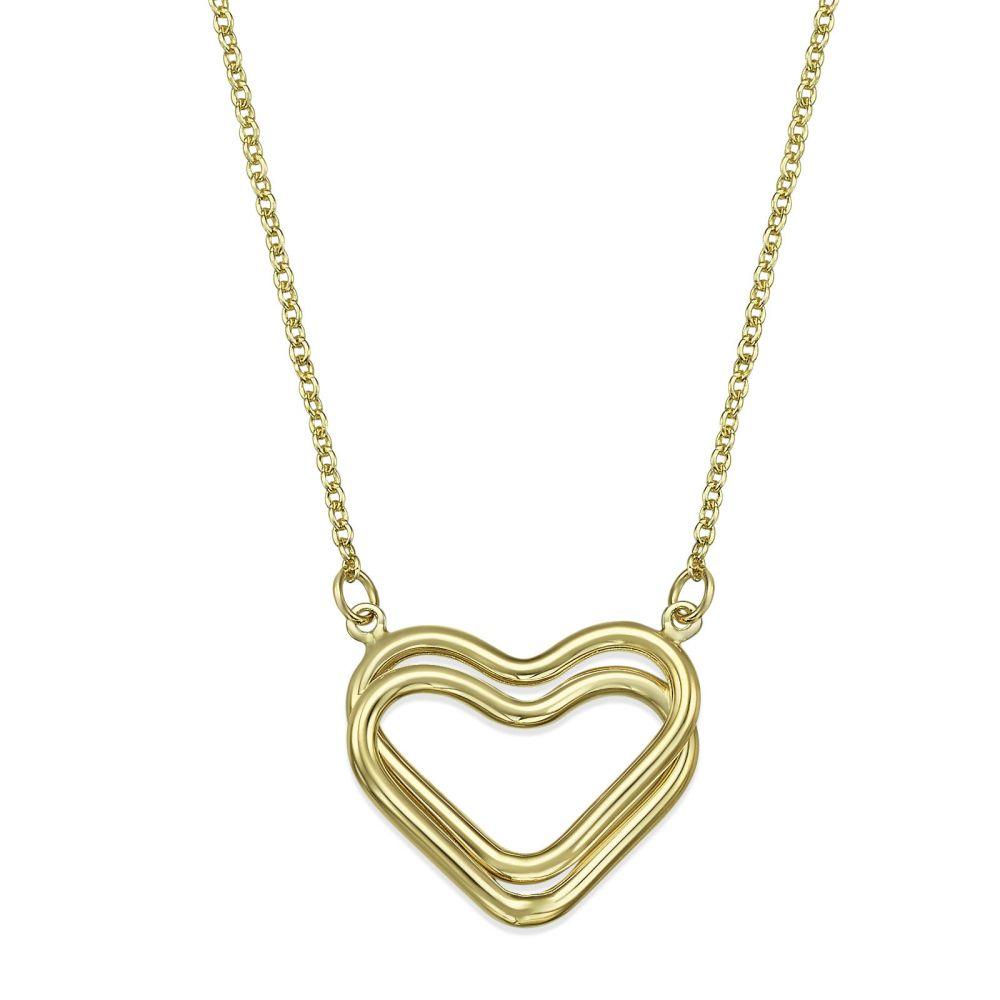 תכשיטי זהב לנשים | שרשרת ותליון מזהב צהוב 14 קראט - לב ליאנה