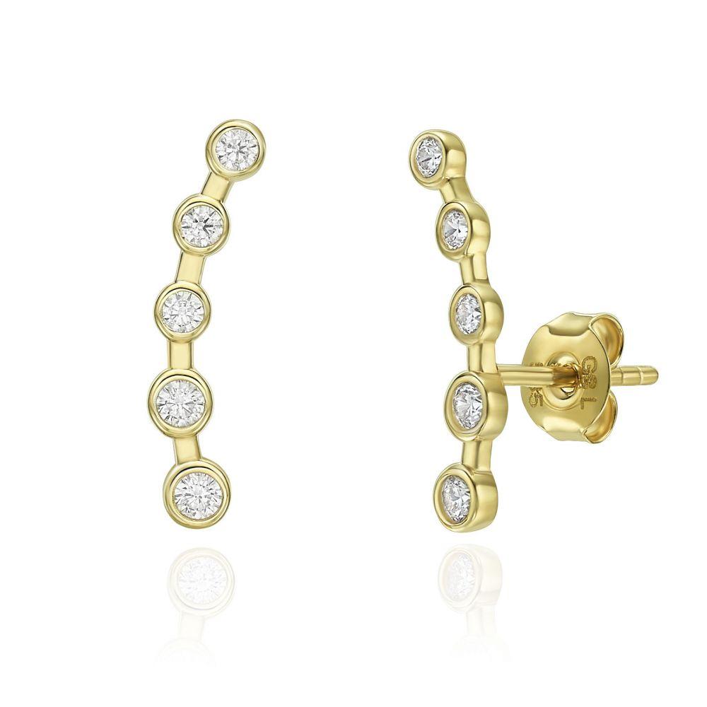 עגילי זהב | עגילים מטפסים מזהב צהוב 14 קראט - שביל החלב
