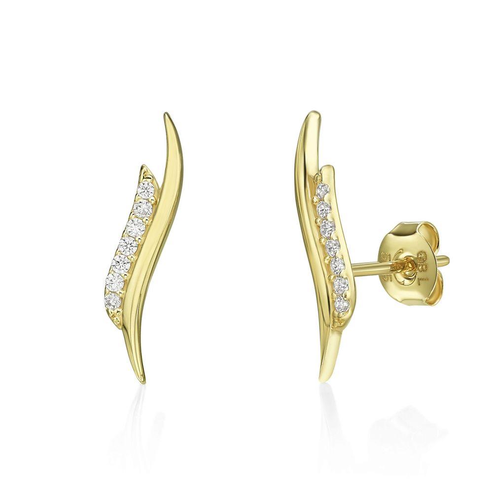 עגילי זהב | עגילים צמודים מזהב צהוב 14 קראט - סיישל