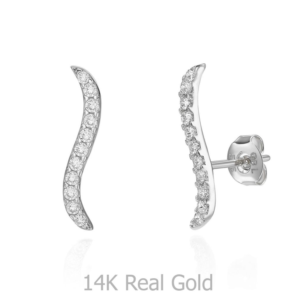 עגילי זהב | עגילים מטפסים מזהב לבן 14 קראט - הידרה