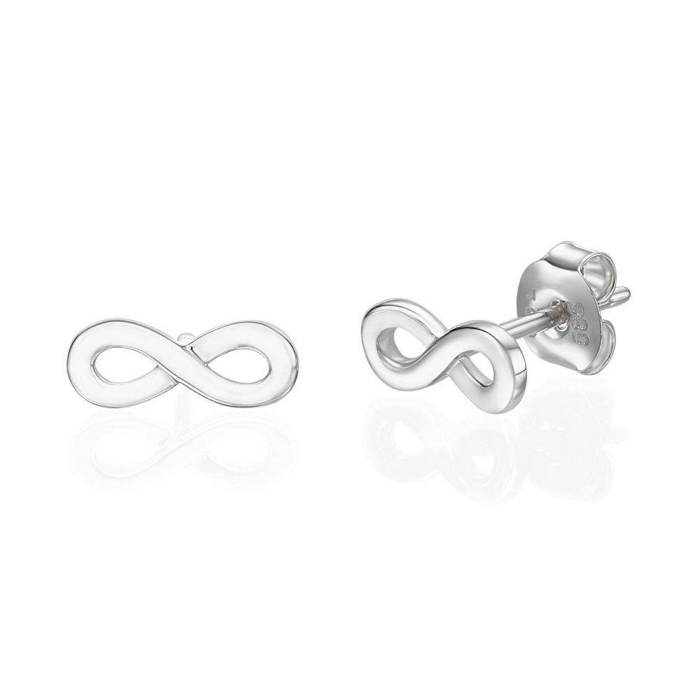 עגילי זהב | עגילים צמודים מזהב לבן 14 קראט - אינסוף תלת מימד