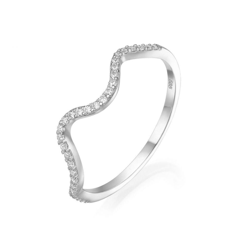 טבעות זהב | טבעת מזהב לבן 14 קראט - גל מנצנץ