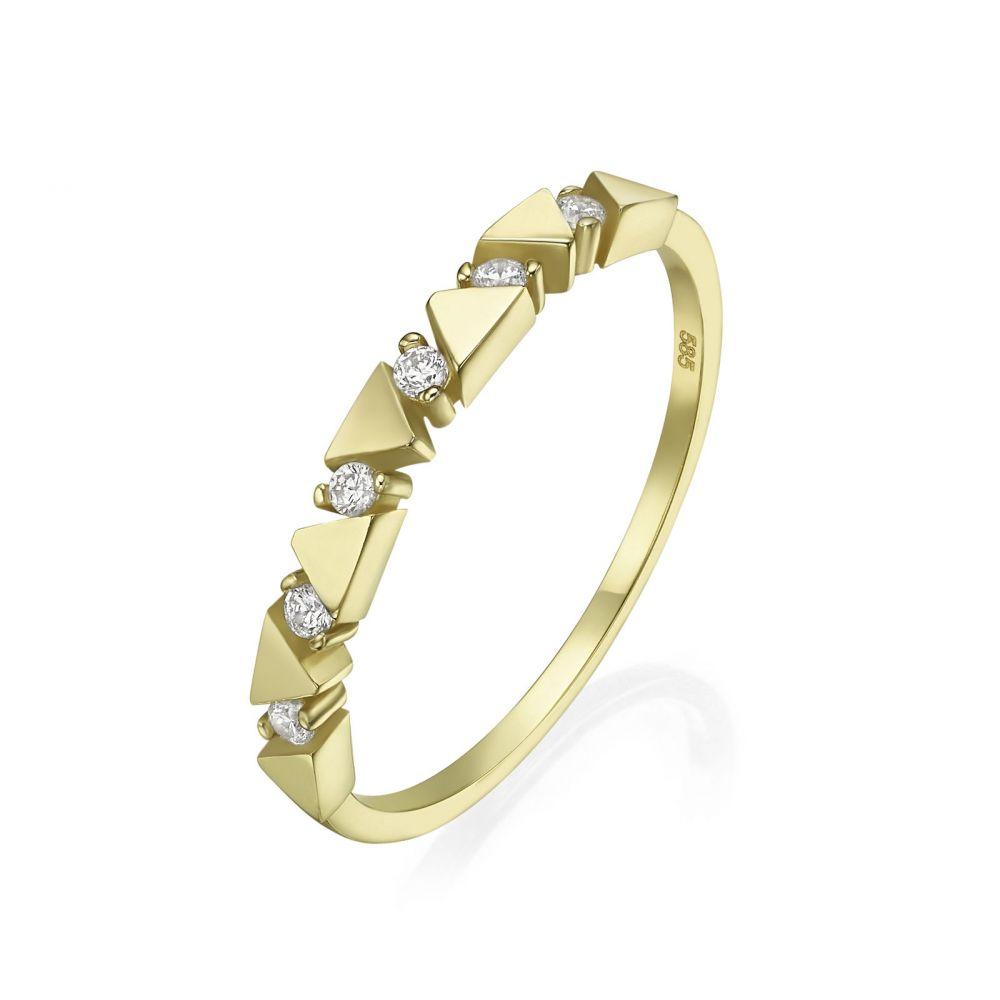 טבעות זהב | טבעת מזהב צהוב 14 קראט - משולשים מאי