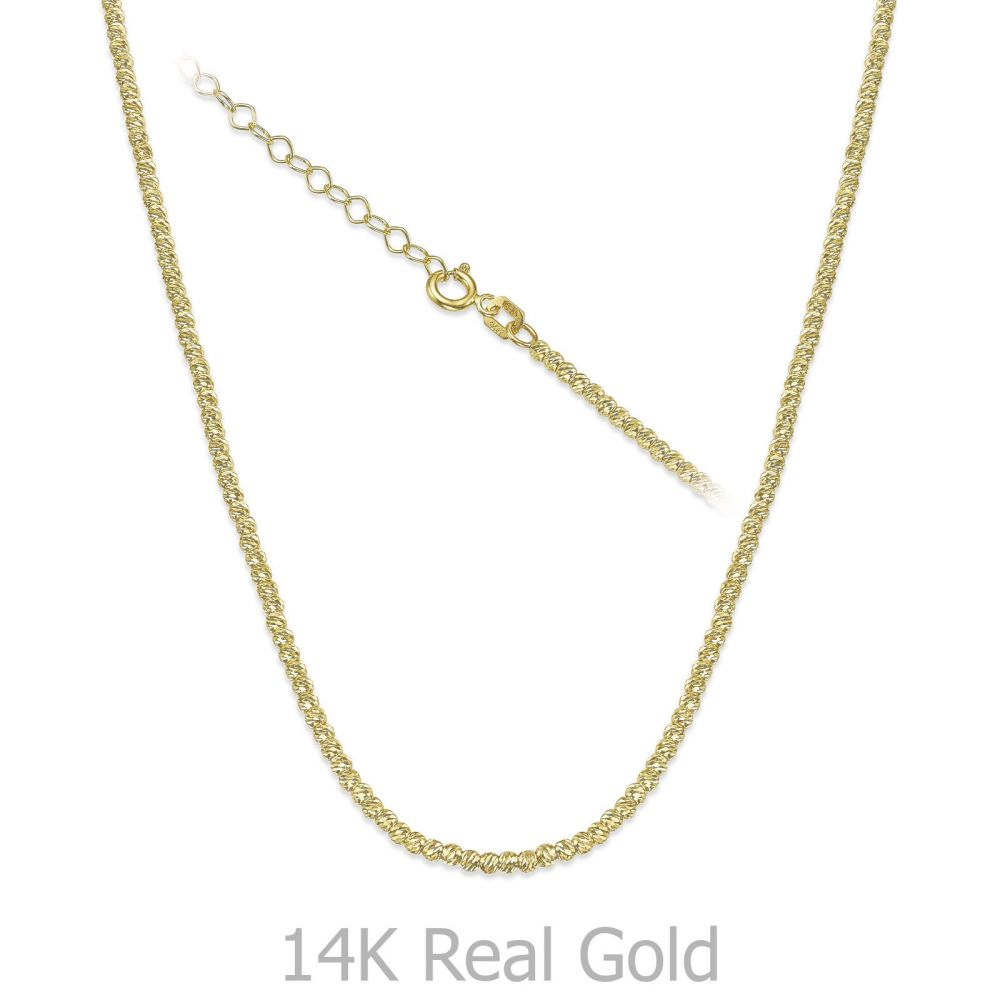 שרשראות זהב | שרשרת לאישה מזהב צהוב 14 קראט - כדורים