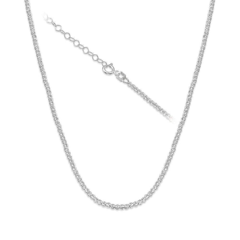 שרשראות זהב | שרשרת לאישה מזהב לבן 14 קראט - כדורים