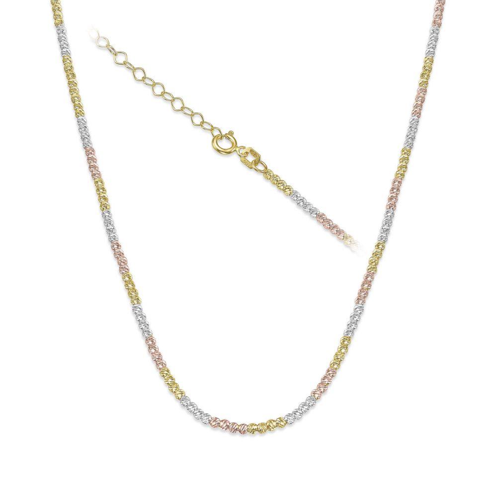 שרשראות זהב | שרשרת לאישה מזהב בשלושה צבעים 14 קראט - כדורים