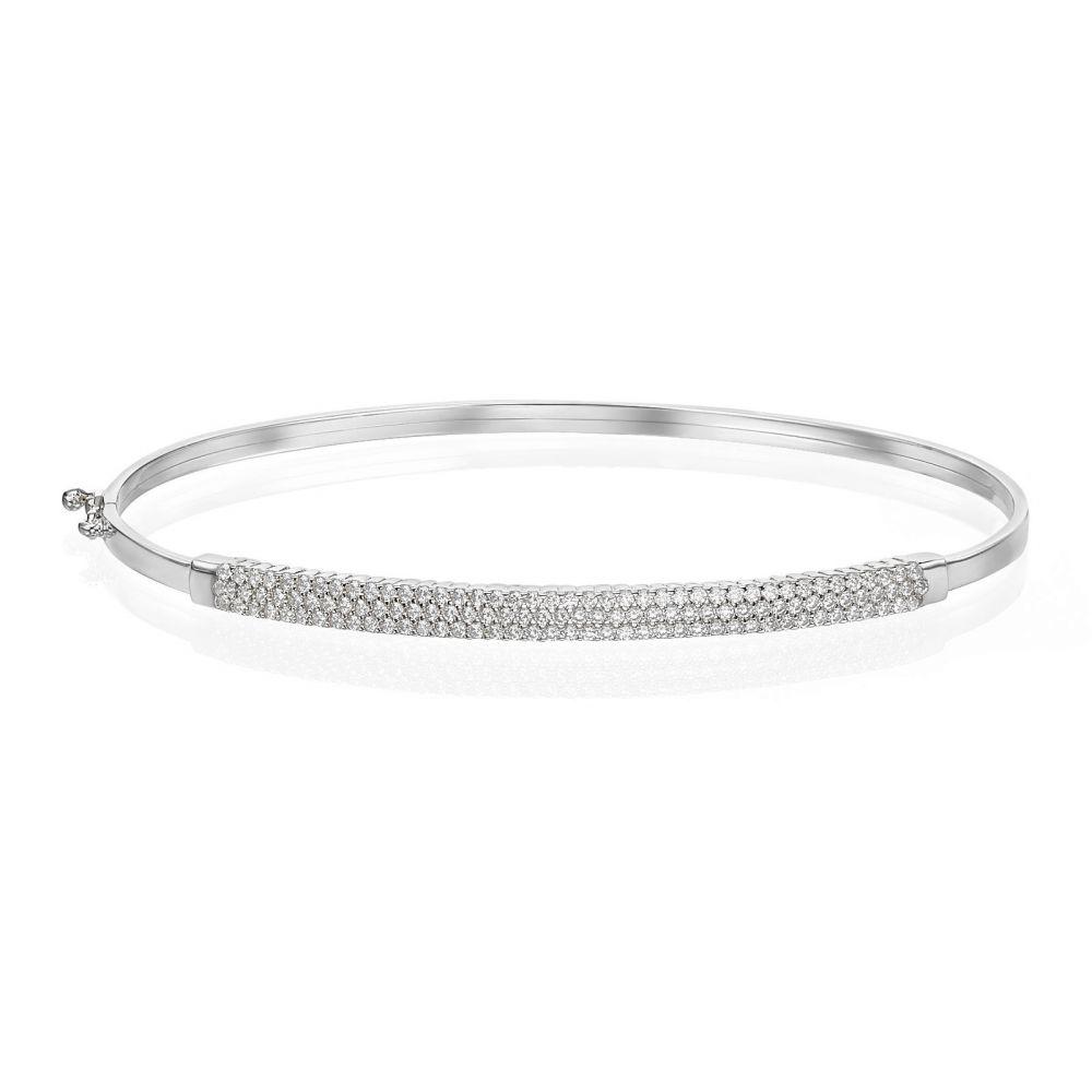 תכשיטי זהב לנשים | צמיד בנגל לאישה מזהב לבן 14 קראט - אמסטרדם