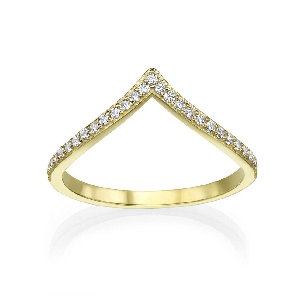 טבעות זהב | טבעת וי מזהב צהוב 14 קראט - ליה