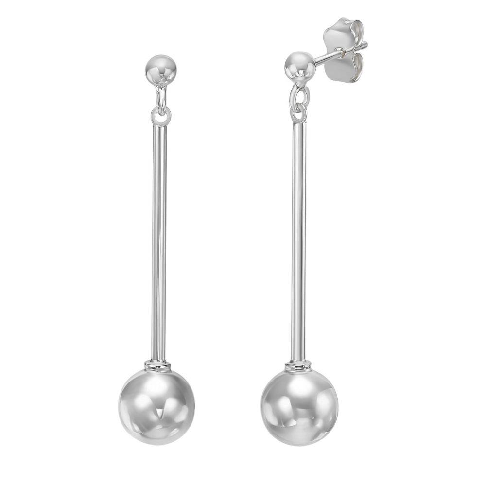 עגילי זהב | עגילים תלויים מזהב לבן 14 קראט - כדור ענבל