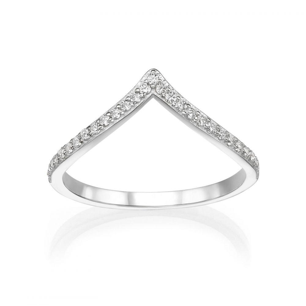 טבעות זהב | טבעת וי מזהב לבן 14 קראט - ליה
