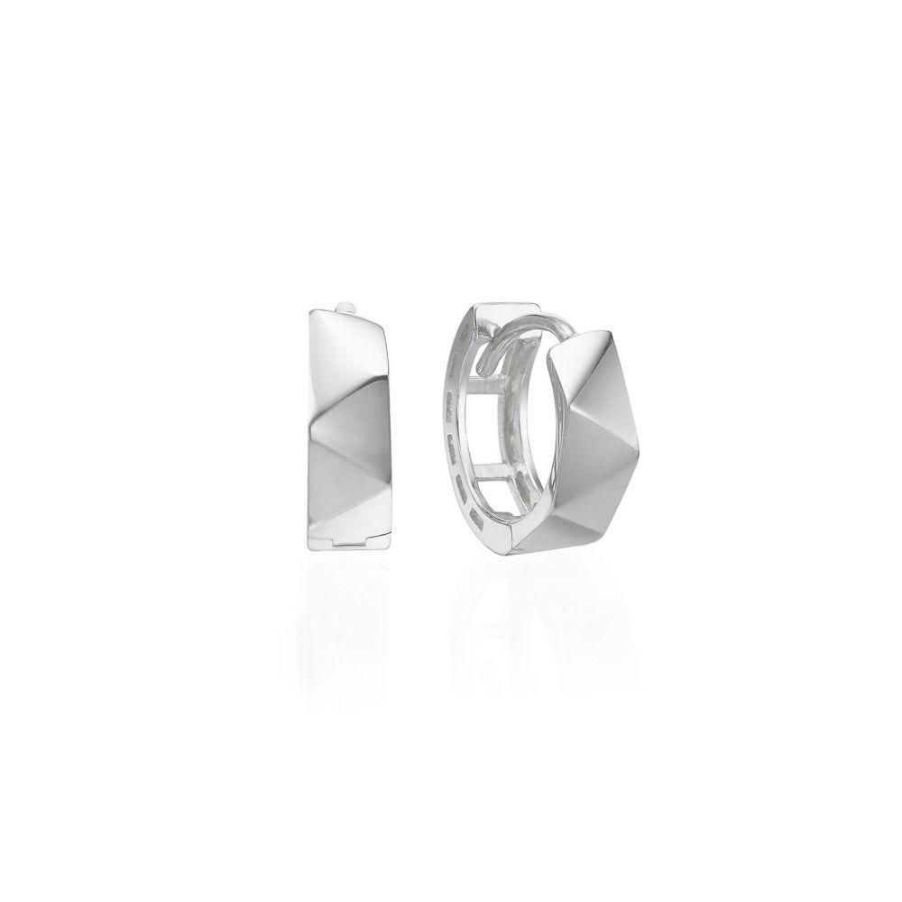 עגילי זהב | עגילי חישוק מזהב לבן 14 קראט  - חישוק פריז