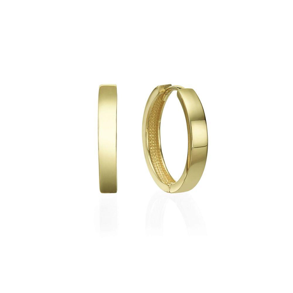 עגילי זהב | עגילי חישוק מזהב צהוב 14 קראט  - חישוק כרמן