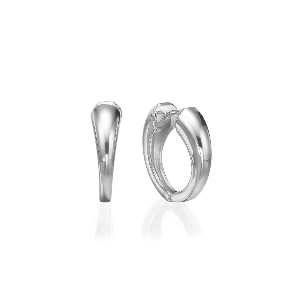 עגילי זהב | עגילי חישוק מזהב לבן 14 קראט  - חישוק פיבי