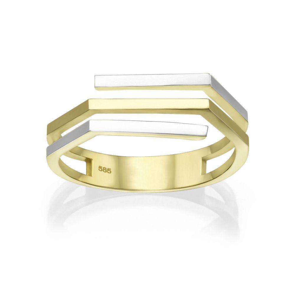 תכשיטי זהב לנשים | טבעת מזהב צהוב ולבן 14 קראט - אלין