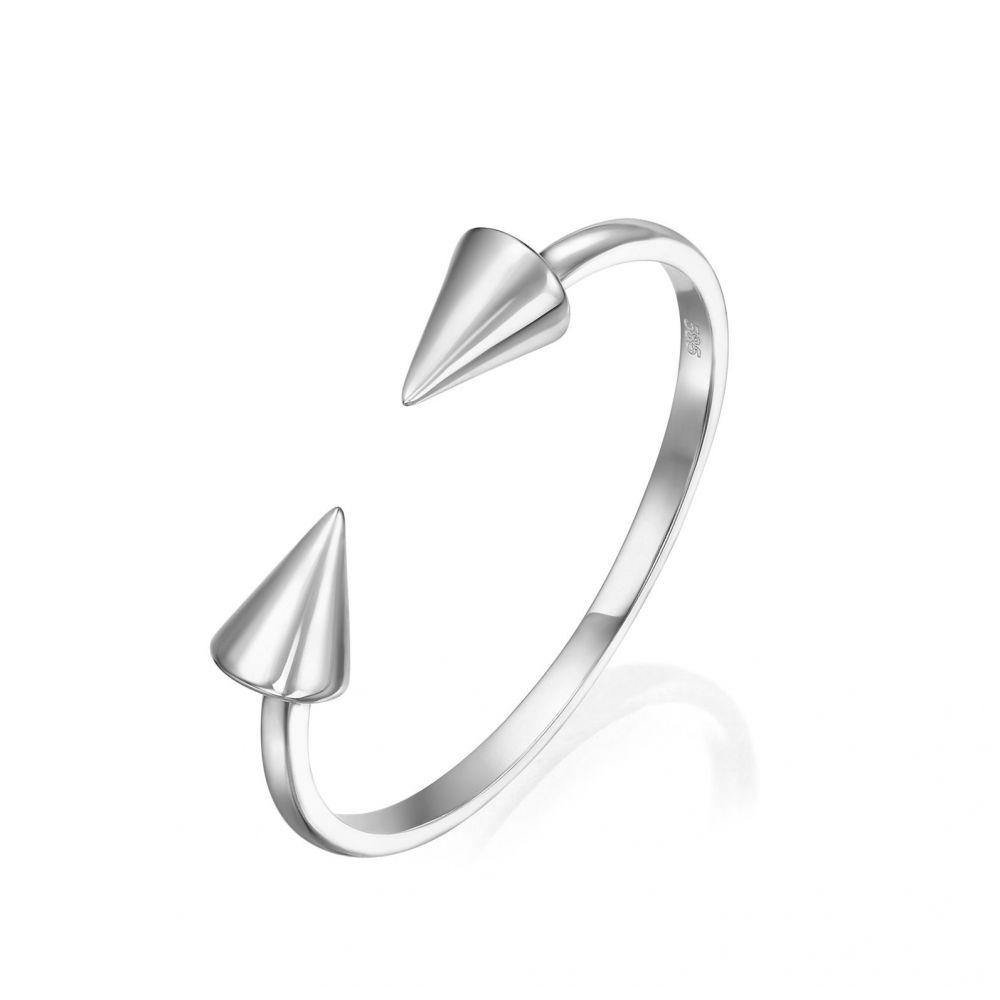 תכשיטי זהב לנשים | טבעת פתוחה מזהב לבן 14 קראט - חצים מסתובבים