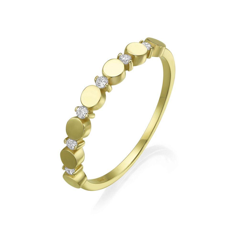 תכשיטי זהב לנשים | טבעת מזהב צהוב 14 קראט - עיגולי קרולינה
