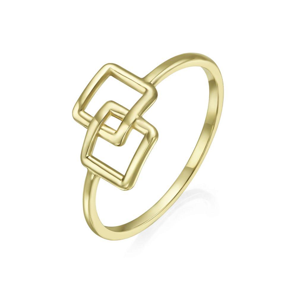תכשיטי זהב לנשים | טבעת מזהב צהוב 14 קראט -  ריבועי אליס
