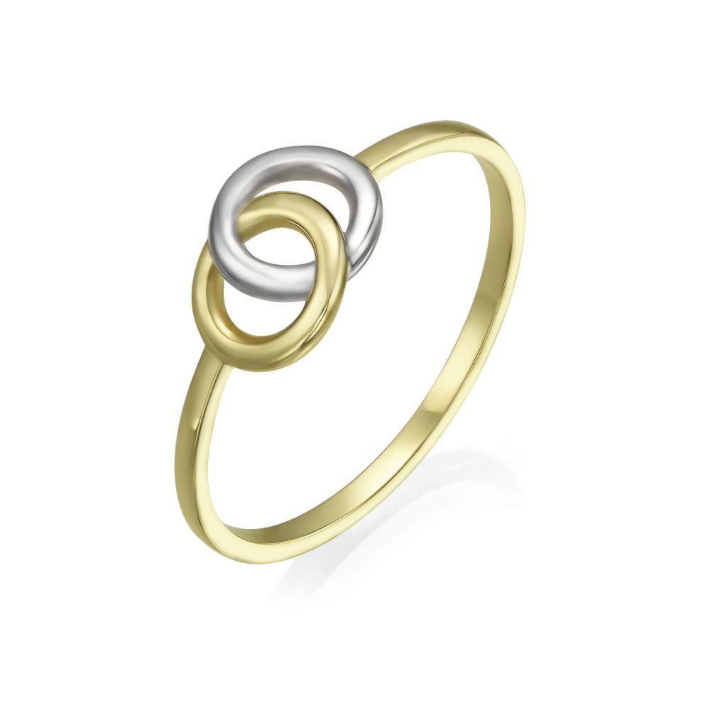 תכשיטי זהב לנשים | טבעת מזהב צהוב ולבן 14 קראט - עיגולי ג'ין