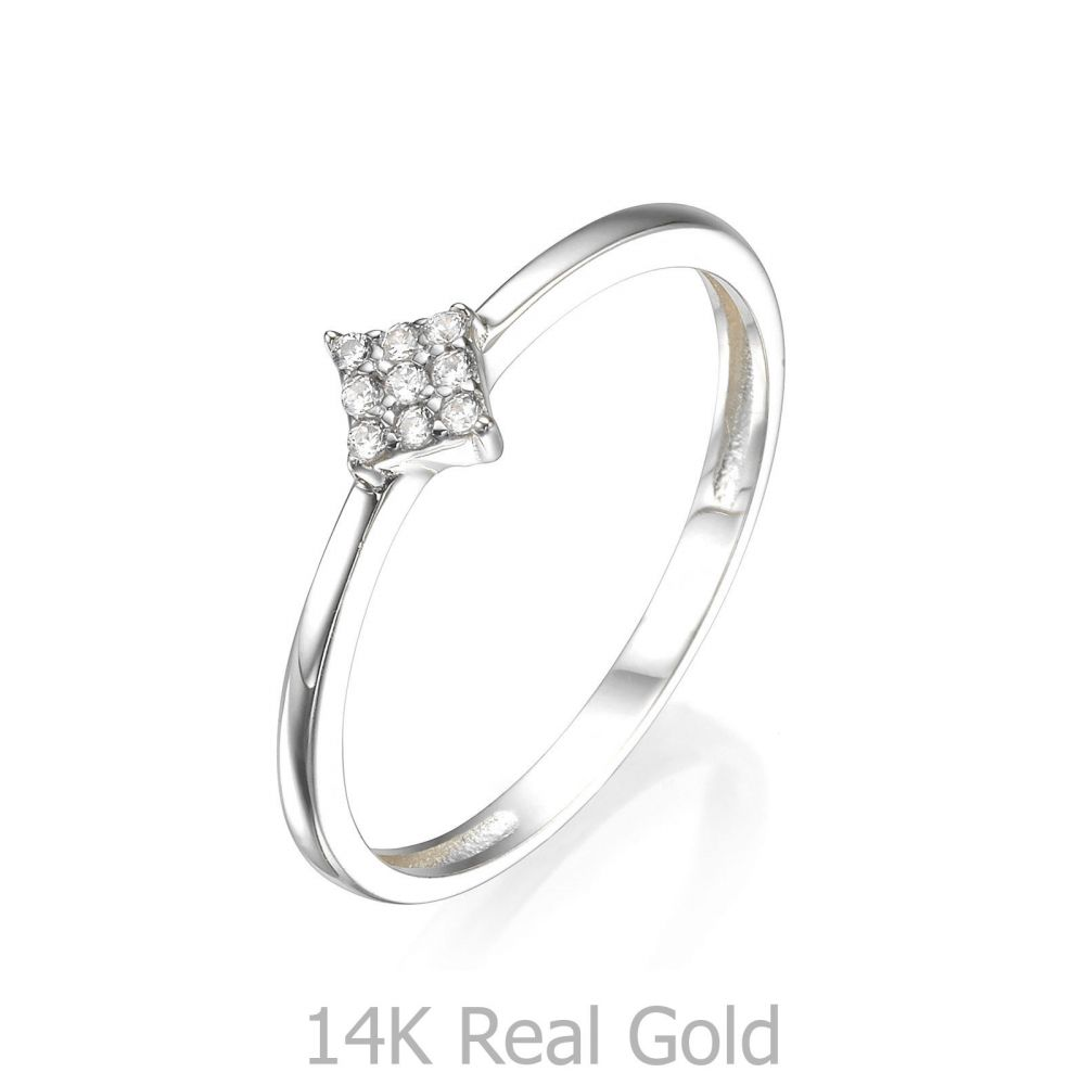טבעות זהב | טבעת מזהב לבן 14 קראט - מעוין נוצץ